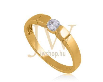 Sárga arany, köves gyűrű - 21