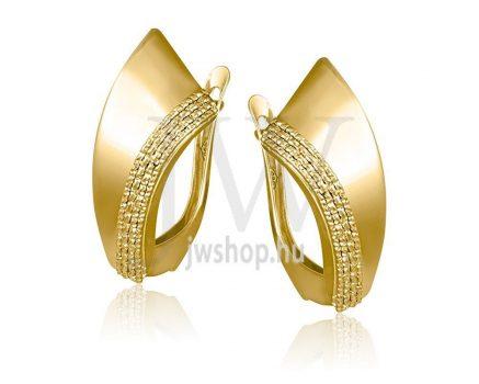 Sárga arany, lógós, vésett  fülbevaló - 111
