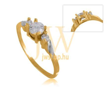 Fehér-sárga arany, köves gyűrű - 37