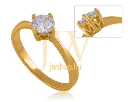 Sárga arany, köves gyűrű - 56
