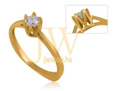 Sárga arany, köves gyűrű - 62