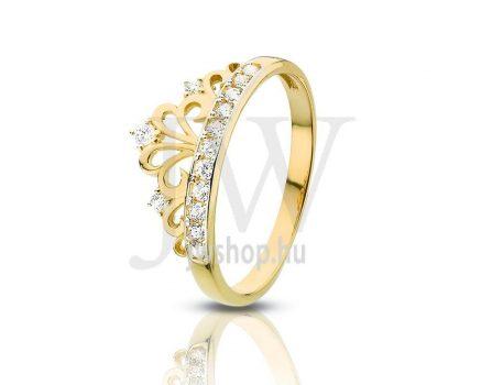 Sárga-fehér arany, köves gyűrű - 72