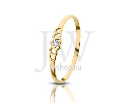 Sárga arany, köves gyűrű - 73