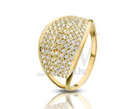 Sárga arany, köves gyűrű - 75