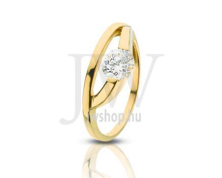 Sárga arany, köves gyűrű - 78