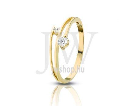 Sárga arany, köves gyűrű - 79