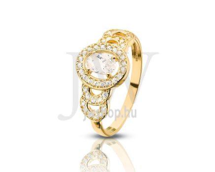 Sárga arany, köves gyűrű - 81