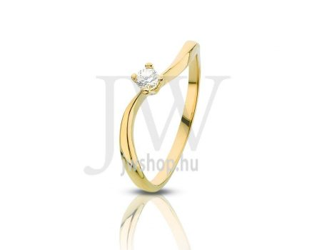 Sárga arany, köves gyűrű - 85