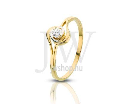 Sárga arany, köves gyűrű - 86