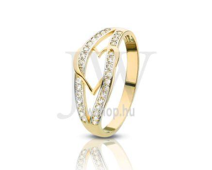 Sárga-fehér arany, köves gyűrű - 88