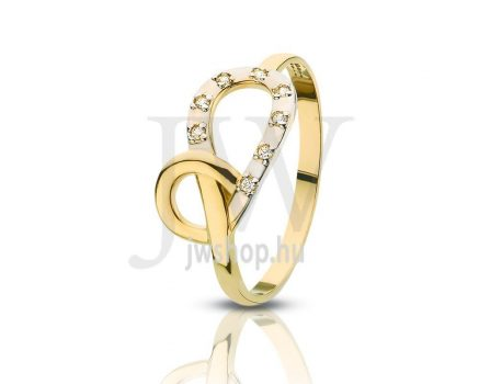 Sárga-fehér arany, köves gyűrű - 89