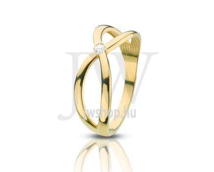 Sárga arany, köves gyűrű - 92