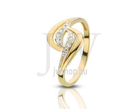 Sárga-fehér arany, köves gyűrű - 94