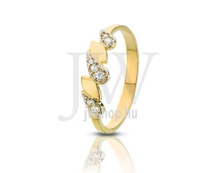 Sárga-fehér arany, köves gyűrű - 100