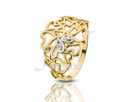 Sárga-fehér arany, köves gyűrű - 102