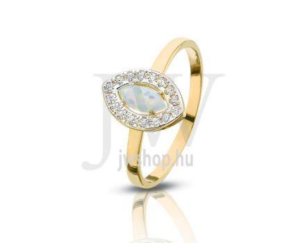 Sárga-fehér arany, köves gyűrű - 105