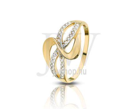 Sárga-fehér arany, köves gyűrű - 106
