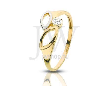 Sárga-fehér arany, köves gyűrű - 112