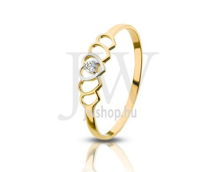 Sárga-fehér arany, köves gyűrű - 115
