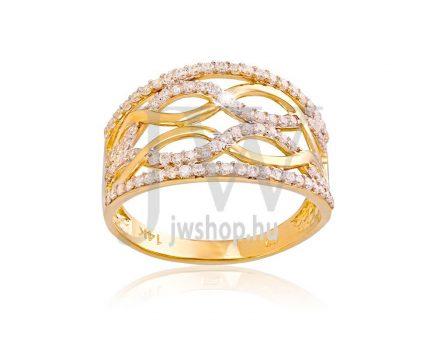 Sárga-fehér arany, köves gyűrű - 149