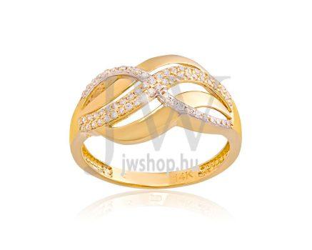 Sárga-fehér arany, köves gyűrű - 150