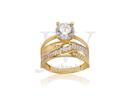 Sárga-fehér arany, köves gyűrű - 179