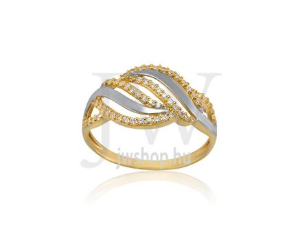 Sárga-fehér arany, köves gyűrű - 180