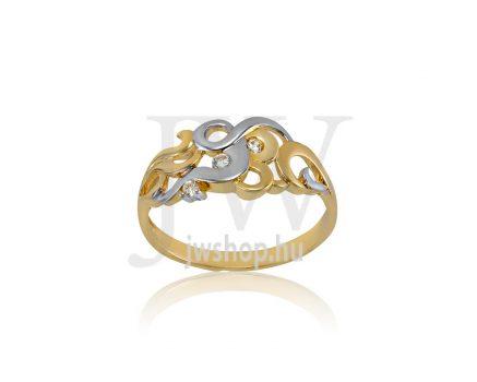 Sárga-fehér arany, köves gyűrű - 183