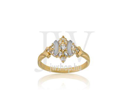 Sárga-fehér arany, köves gyűrű - 185
