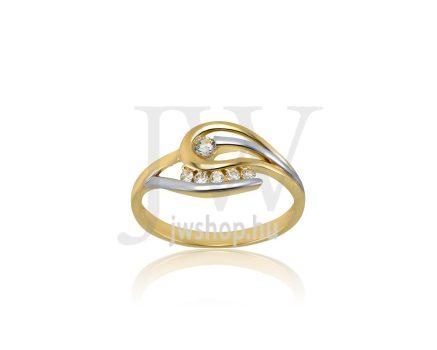 Sárga-fehér arany, köves gyűrű - 187