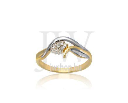 Sárga-fehér arany, köves gyűrű - 192