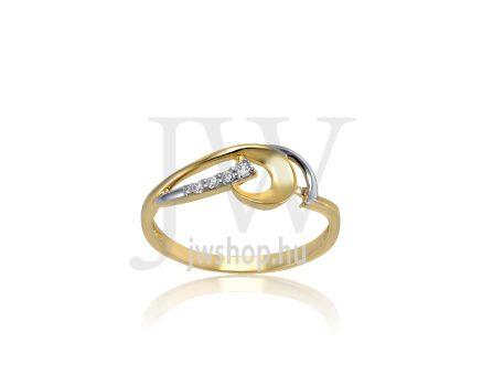 Sárga-fehér arany, köves gyűrű - 196