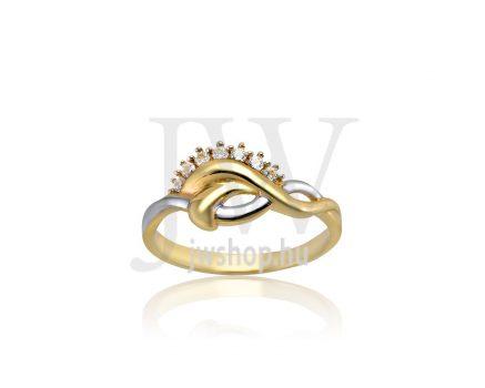 Sárga-fehér arany, köves gyűrű - 197