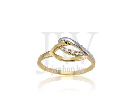Sárga-fehér arany, köves gyűrű - 198