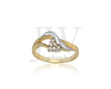 Sárga-fehér arany, köves gyűrű - 204