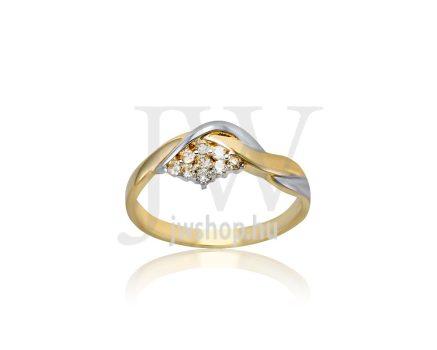 Sárga-fehér arany, köves gyűrű - 206