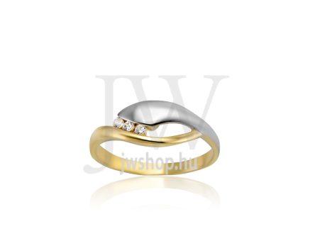 Sárga-fehér arany, köves gyűrű - 213