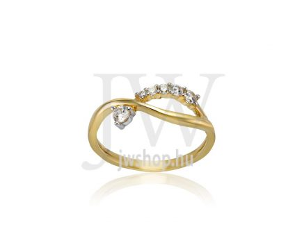 Sárga arany, köves gyűrű - 226