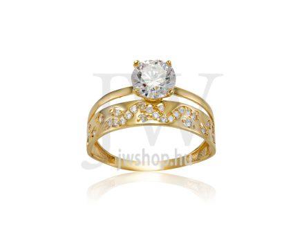 Sárga arany, köves gyűrű - 227