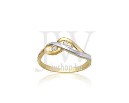Sárga-fehér arany, köves gyűrű - 230