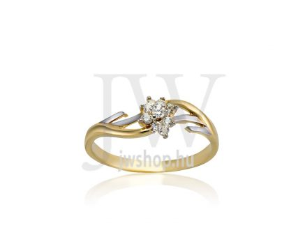 Sárga-fehér arany, köves gyűrű - 231