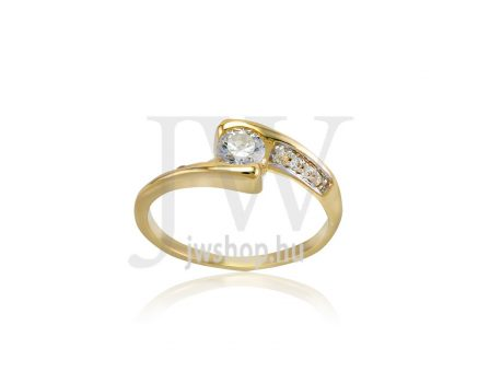 Sárga-fehér arany, köves gyűrű - 233