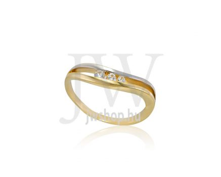Sárga-fehér arany, köves gyűrű - 234