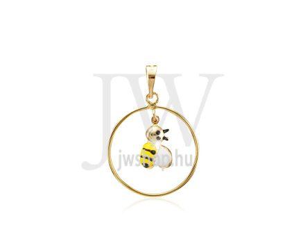 Sárga arany festett méhecske, gyermek medál