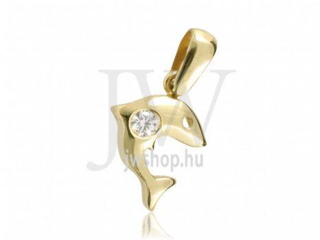 Sárga arany, köves, delfin medál - 97
