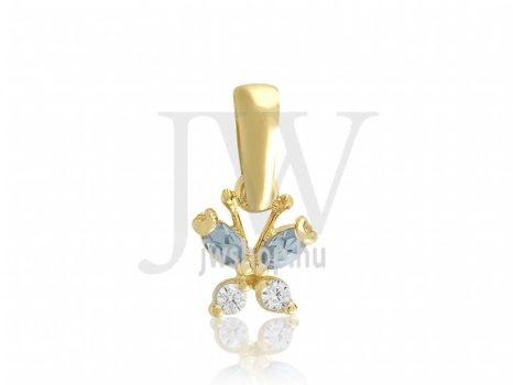 Sárga arany, kék-fehér köves medál - 117