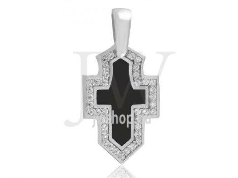 Fehér arany, köves kereszt medál, fekete betéttel - 0220