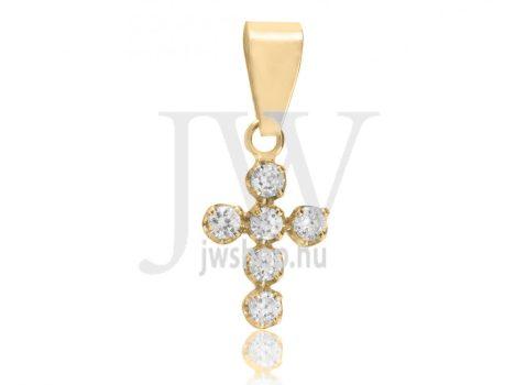 Sárga arany, köves, kereszt medál - 0221