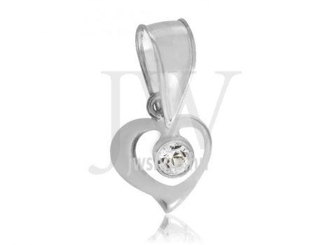Szív és kő, fehér arany medál - 0223