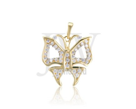 Sárga arany, pillangó, köves medál - 237